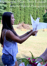girl releasing white bird